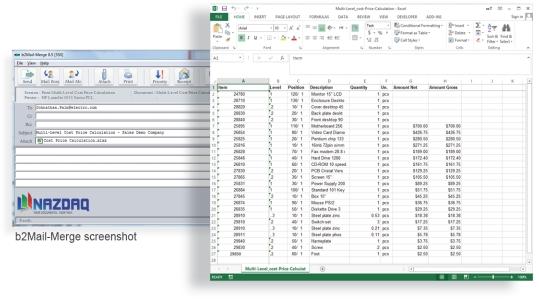 b2Mail-Merge Excel Addon