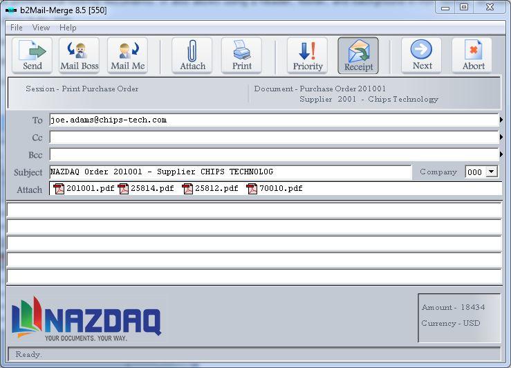 b2Mail-Merge 8.5 User Interface