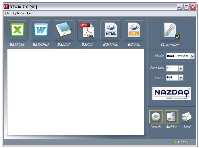 b2Win 7.0 Interface