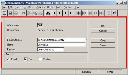 b2Mail-Merge 6.4 - Sending E-mails to Warehouses Interface