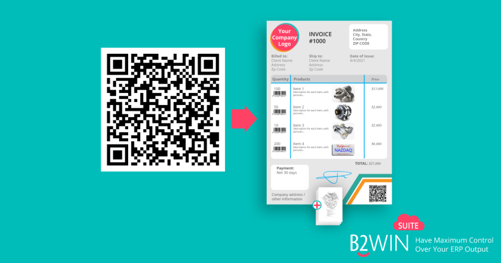 Printing QR codes on invoices from Baan/Infor LN
